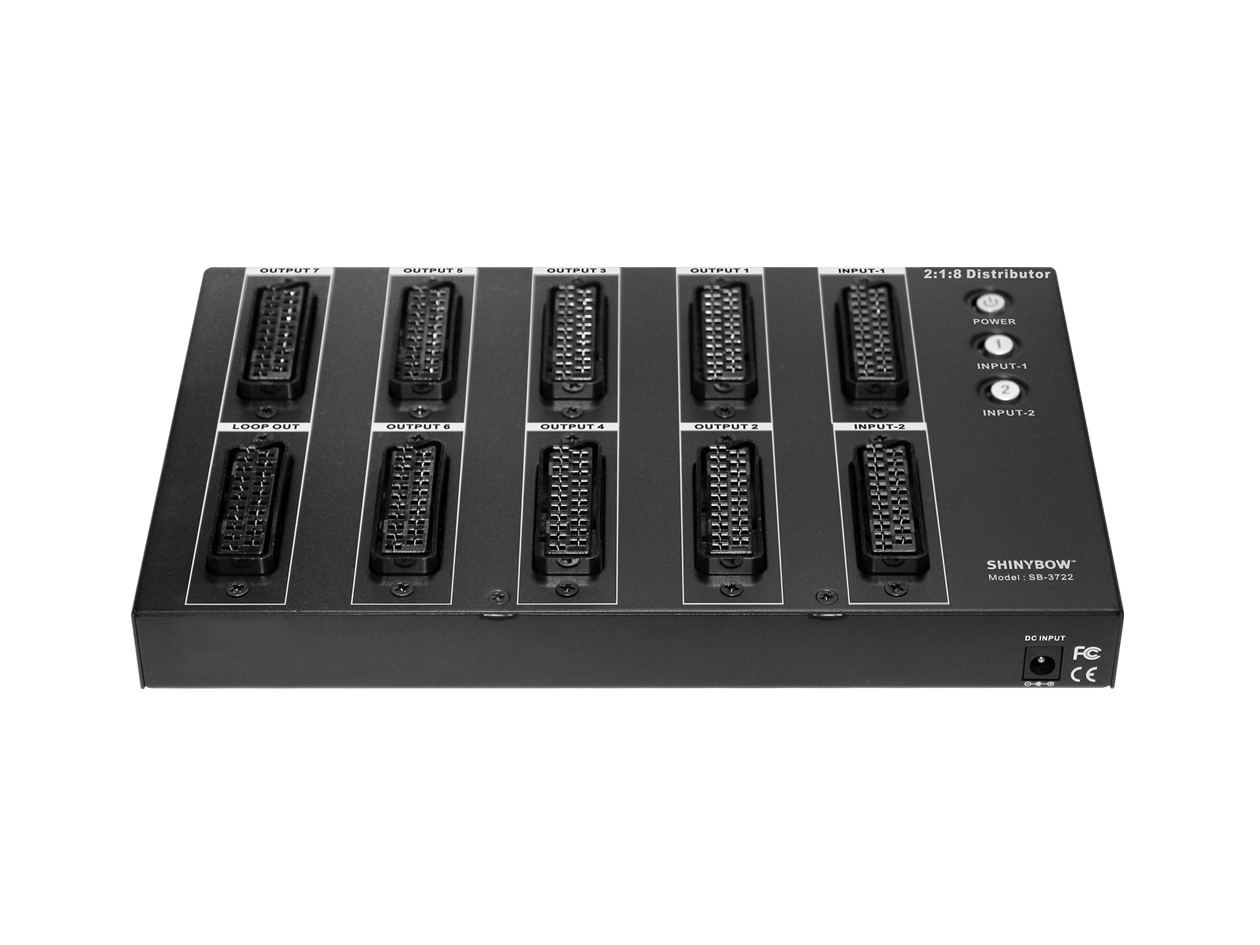 SB-3722 - 2x1x8 SCART Switcher-Distribution Amplifier