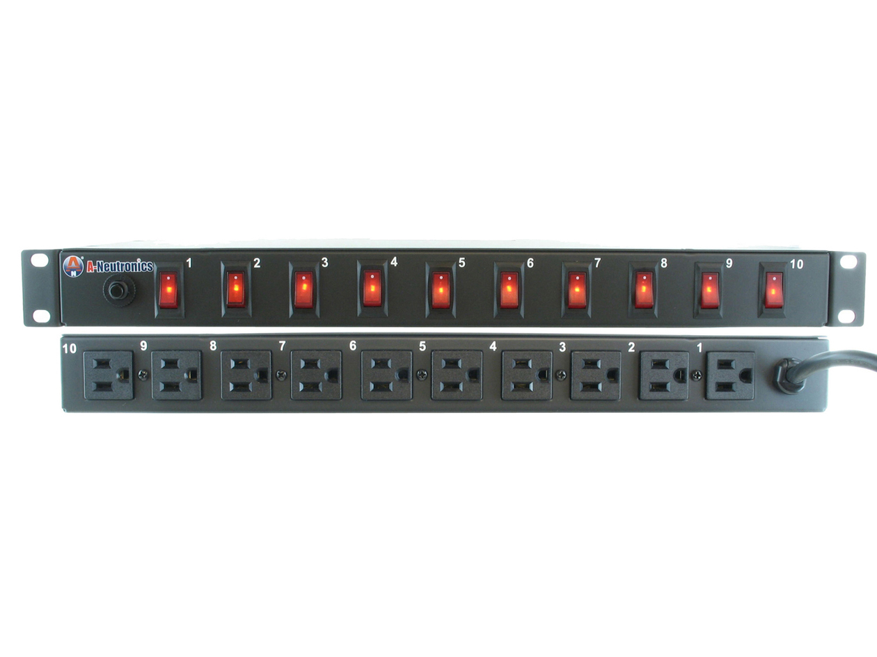 "MLSL-11510: 10-OUTLET/19"" RACK MOUNT POWER STRIP w/ INDIVIDUAL SWITCHES"